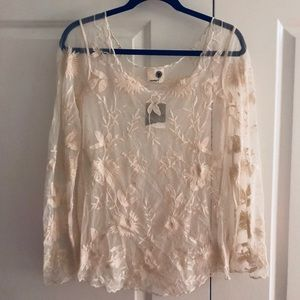 Anthropologie Sheer Lace Blouse
